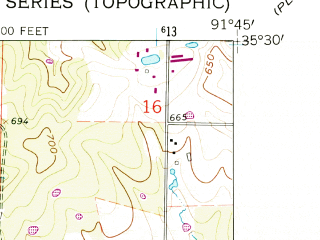 Reduced fragment of topographic map en--usgs--024k--034089--(1962)--N035-30-00_W091-52-30--N035-22-30_W091-45-00; towns and cities Pangburn