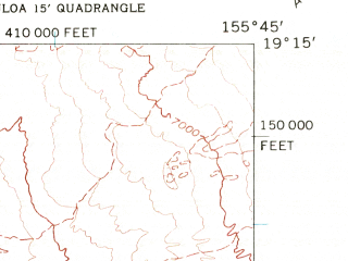 Reduced fragment of topographic map en--usgs--024k--034132--(1962)--N019-15-00_W155-52-30--N019-07-30_W155-45-00