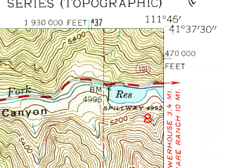 Reduced fragment of topographic map en--usgs--024k--034155--(1955)--N041-37-30_W111-52-30--N041-30-00_W111-45-00; towns and cities Paradise