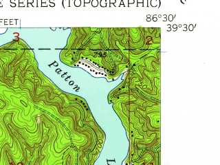 Reduced fragment of topographic map en--usgs--024k--034175--(1957)--N039-30-00_W086-37-30--N039-22-30_W086-30-00; towns and cities Paragon