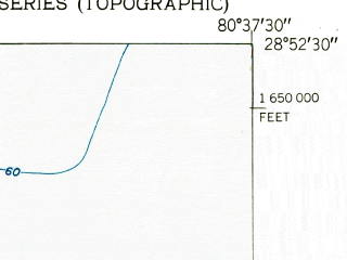 Reduced fragment of topographic map en--usgs--024k--034185--(1952)--N028-52-30_W080-45-00--N028-45-00_W080-37-30