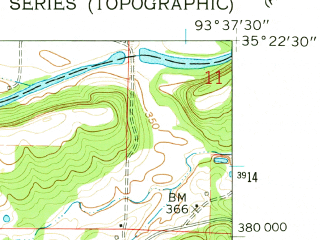 Reduced fragment of topographic map en--usgs--024k--034191--(1961)--N035-22-30_W093-45-00--N035-15-00_W093-37-30; towns and cities Paris, Subiaco