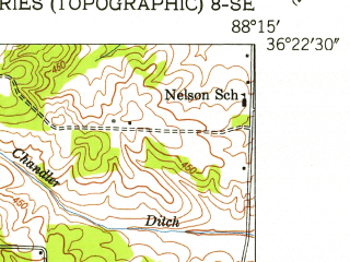 Reduced fragment of topographic map en--usgs--024k--034192--(1950)--N036-22-30_W088-22-30--N036-15-00_W088-15-00; towns and cities Paris