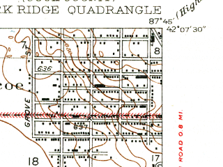 Reduced fragment of topographic map en--usgs--024k--034230--(1929)--N042-07-30_W087-52-30--N042-00-00_W087-45-00; towns and cities Glenview, Morton Grove, Niles, Golf, Northfield
