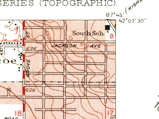 Reduced fragment of topographic map en--usgs--024k--034230--(1953)--N042-07-30_W087-52-30--N042-00-00_W087-45-00; towns and cities Glenview, Morton Grove, Niles, Golf, Northfield