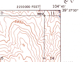 Reduced fragment of topographic map en--usgs--024k--034237--(1949)--N039-37-30_W104-52-30--N039-30-00_W104-45-00; towns and cities Parker