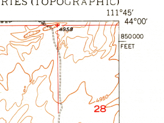 Reduced fragment of topographic map en--usgs--024k--034242--(1950)--N044-00-00_W111-52-30--N043-52-30_W111-45-00; towns and cities Parker