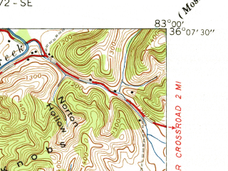 Reduced fragment of topographic map en--usgs--024k--034313--(1940)--N036-07-30_W083-07-30--N036-00-00_W083-00-00; towns and cities Parrottsville