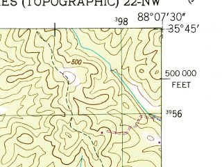 Reduced fragment of topographic map en--usgs--024k--034324--(1950)--N035-45-00_W088-15-00--N035-37-30_W088-07-30; towns and cities Parsons