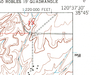 Reduced fragment of topographic map en--usgs--024k--034344--(1948)--N035-45-00_W120-45-00--N035-37-30_W120-37-30; towns and cities Paso Robles, San Miguel