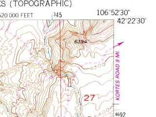 Reduced fragment of topographic map en--usgs--024k--034387--(1953)--N042-22-30_W107-00-00--N042-15-00_W106-52-30