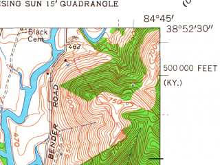 Reduced fragment of topographic map en--usgs--024k--034406--(1961)--N038-52-30_W084-52-30--N038-45-00_W084-45-00; towns and cities Patriot