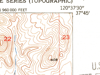 Reduced fragment of topographic map en--usgs--024k--034449--(1953)--N037-45-00_W120-45-00--N037-37-30_W120-37-30 in area of Modesto Reservoir