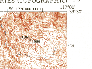 Reduced fragment of topographic map en--usgs--024k--034581--(1949)--N033-30-00_W117-07-30--N033-22-30_W117-00-00