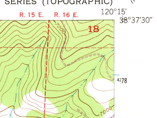 Reduced fragment of topographic map en--usgs--024k--034600--(1951)--N038-37-30_W120-22-30--N038-30-00_W120-15-00