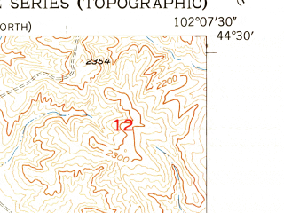 Reduced fragment of topographic map en--usgs--024k--034612--(1955)--N044-30-00_W102-15-00--N044-22-30_W102-07-30