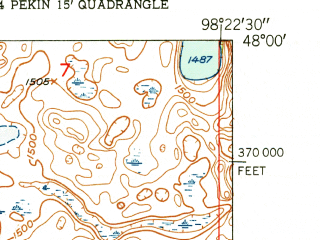 Reduced fragment of topographic map en--usgs--024k--034641--(1951)--N048-00-00_W098-30-00--N047-52-30_W098-22-30