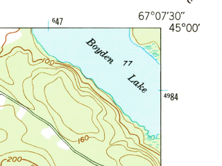 Reduced fragment of topographic map en--usgs--024k--034681--(1949)--N045-00-00_W067-15-00--N044-52-30_W067-07-30 in area of Dennys Bay, Dennys, Hershey Cove