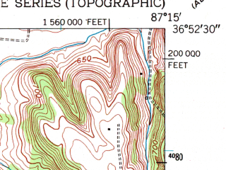 Reduced fragment of topographic map en--usgs--024k--034683--(1950)--N036-52-30_W087-22-30--N036-45-00_W087-15-00; towns and cities Pembroke
