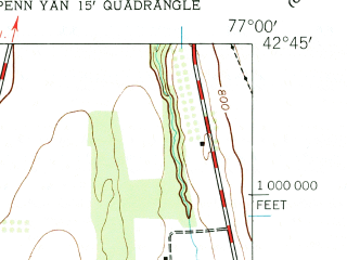 Reduced fragment of topographic map en--usgs--024k--034716--(1942)--N042-45-00_W077-07-30--N042-37-30_W077-00-00; towns and cities Penn Yan