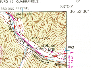 Reduced fragment of topographic map en--usgs--024k--034727--(1955)--N036-52-30_W083-07-30--N036-45-00_W083-00-00; towns and cities Pennington Gap, St. Charles