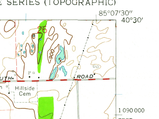 Reduced fragment of topographic map en--usgs--024k--034732--(1960)--N040-30-00_W085-15-00--N040-22-30_W085-07-30; towns and cities Pennville