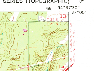 Reduced fragment of topographic map en--usgs--024k--034757--(1960)--N037-00-00_W094-45-00--N036-52-30_W094-37-30; towns and cities Peoria