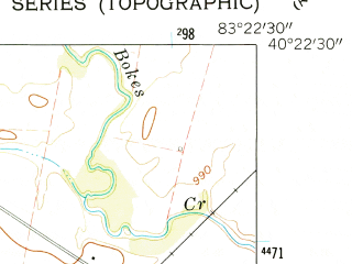 Reduced fragment of topographic map en--usgs--024k--034759--(1961)--N040-22-30_W083-30-00--N040-15-00_W083-22-30