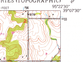Reduced fragment of topographic map en--usgs--024k--034811--(1949)--N039-07-30_W095-30-00--N039-00-00_W095-22-30 in area of Delaware; towns and cities Lecompton, Perry
