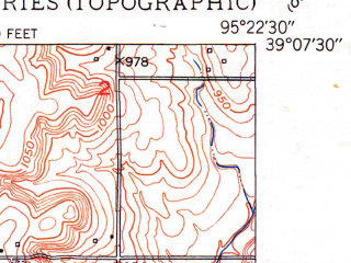 Reduced fragment of topographic map en--usgs--024k--034811--(1950)--N039-07-30_W095-30-00--N039-00-00_W095-22-30 in area of Delaware; towns and cities Perry, Lecompton