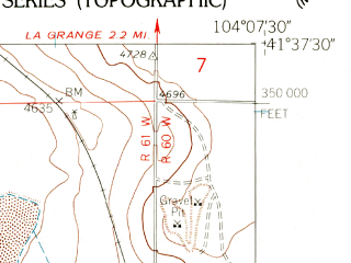 Reduced fragment of topographic map en--usgs--024k--034913--(1960)--N041-37-30_W104-15-00--N041-30-00_W104-07-30