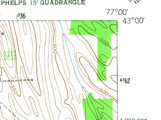 Reduced fragment of topographic map en--usgs--024k--034939--(1953)--N043-00-00_W077-07-30--N042-52-30_W077-00-00; towns and cities Phelps