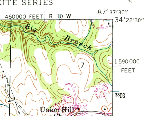 Reduced fragment of topographic map en--usgs--024k--034948--(1946)--N034-22-30_W087-45-00--N034-15-00_W087-37-30; towns and cities Phil Campbell, Bear Creek