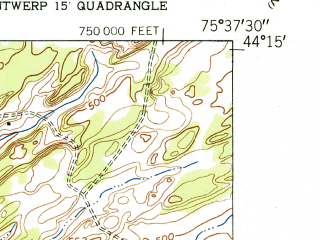 Reduced fragment of topographic map en--usgs--024k--034950--(1951)--N044-15-00_W075-45-00--N044-07-30_W075-37-30; towns and cities Philadelphia