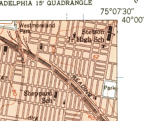 Reduced fragment of topographic map en--usgs--024k--034953--(1949)--N040-00-00_W075-15-00--N039-52-30_W075-07-30; towns and cities Philadelphia