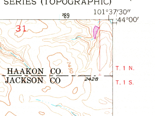 Reduced fragment of topographic map en--usgs--024k--034957--(1953)--N044-00-00_W101-45-00--N043-52-30_W101-37-30