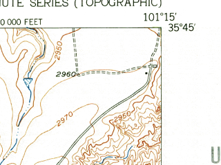 Reduced fragment of topographic map en--usgs--024k--034968--(1953)--N035-45-00_W101-22-30--N035-37-30_W101-15-00