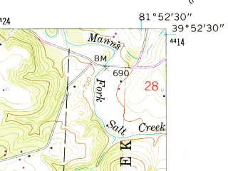Reduced fragment of topographic map en--usgs--024k--034978--(1961)--N039-52-30_W082-00-00--N039-45-00_W081-52-30; towns and cities Philo