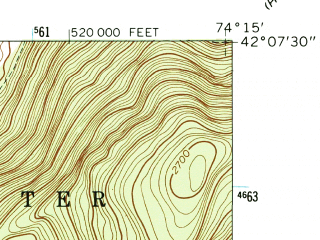 Reduced fragment of topographic map en--usgs--024k--034986--(1960)--N042-07-30_W074-22-30--N042-00-00_W074-15-00