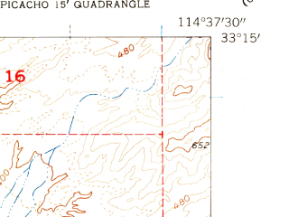 Reduced fragment of topographic map en--usgs--024k--035007--(1954)--N033-15-00_W114-45-00--N033-07-30_W114-37-30