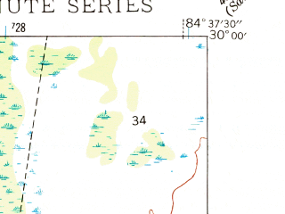 Reduced fragment of topographic map en--usgs--024k--035029--(1945)--N030-00-00_W084-45-00--N029-52-30_W084-37-30