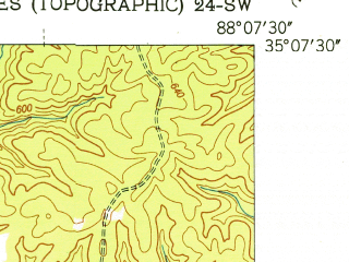 Reduced fragment of topographic map en--usgs--024k--035038--(1952)--N035-07-30_W088-15-00--N035-00-00_W088-07-30