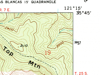 Reduced fragment of topographic map en--usgs--024k--035075--(1959)--N035-45-00_W121-22-30--N035-37-30_W121-15-00