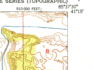 Reduced fragment of topographic map en--usgs--024k--035093--(1950)--N041-15-00_W085-45-00--N041-07-30_W085-37-30; towns and cities Pierceton