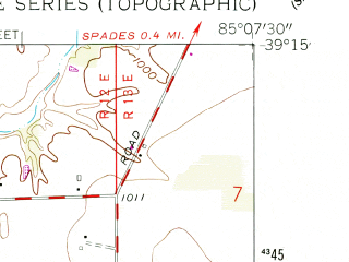 Reduced fragment of topographic map en--usgs--024k--035095--(1961)--N039-15-00_W085-15-00--N039-07-30_W085-07-30; towns and cities Milan