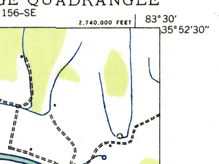 Reduced fragment of topographic map en--usgs--024k--035118--(1935)--N035-52-30_W083-37-30--N035-45-00_W083-30-00; towns and cities Pigeon Forge