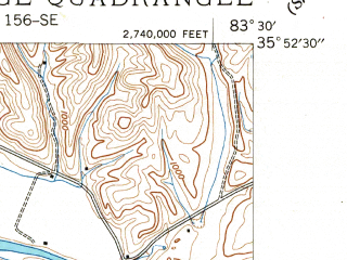 Reduced fragment of topographic map en--usgs--024k--035118--(1940)--N035-52-30_W083-37-30--N035-45-00_W083-30-00; towns and cities Pigeon Forge