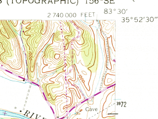 Reduced fragment of topographic map en--usgs--024k--035118--(1956)--N035-52-30_W083-37-30--N035-45-00_W083-30-00; towns and cities Pigeon Forge