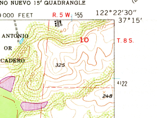 Reduced fragment of topographic map en--usgs--024k--035120--(1955)--N037-15-00_W122-30-00--N037-07-30_W122-22-30