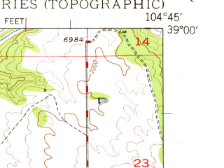 Reduced fragment of topographic map en--usgs--024k--035145--(1948)--N039-00-00_W104-52-30--N038-52-30_W104-45-00; towns and cities Air Force Academy